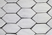 Hexagonal, white, ceramic, hand-made, tiles, mosaic